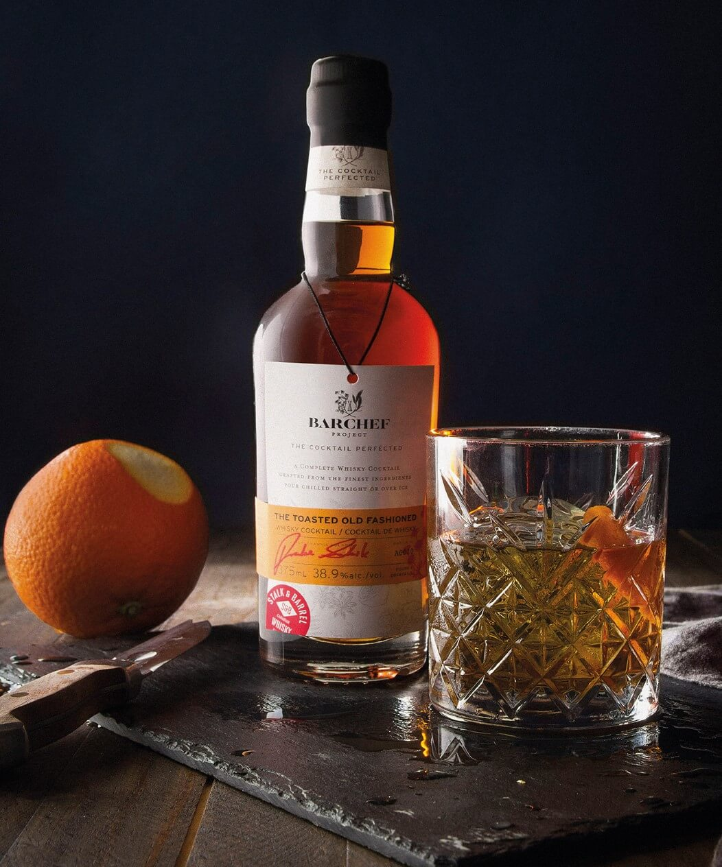 The BarChef Old Fashioned served over ice