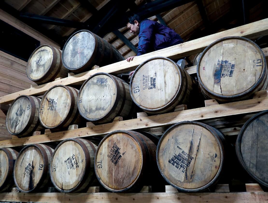 Ex-Bourbon barrels at the Yakushima Aging Cellar