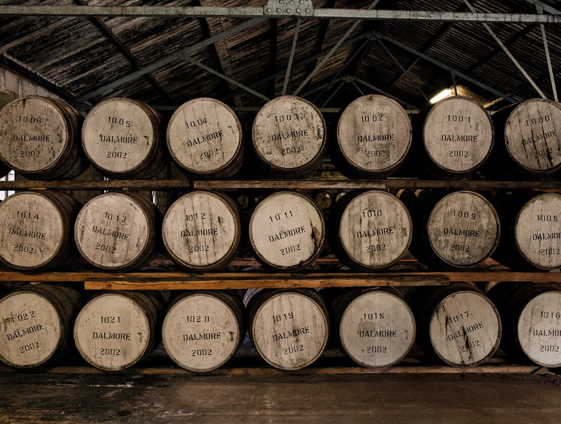 Casks maturing in Dalmore's warehouse