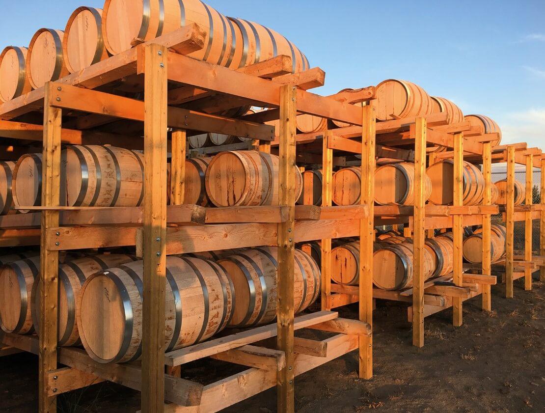 Casks maturing at Black Fox Distillery