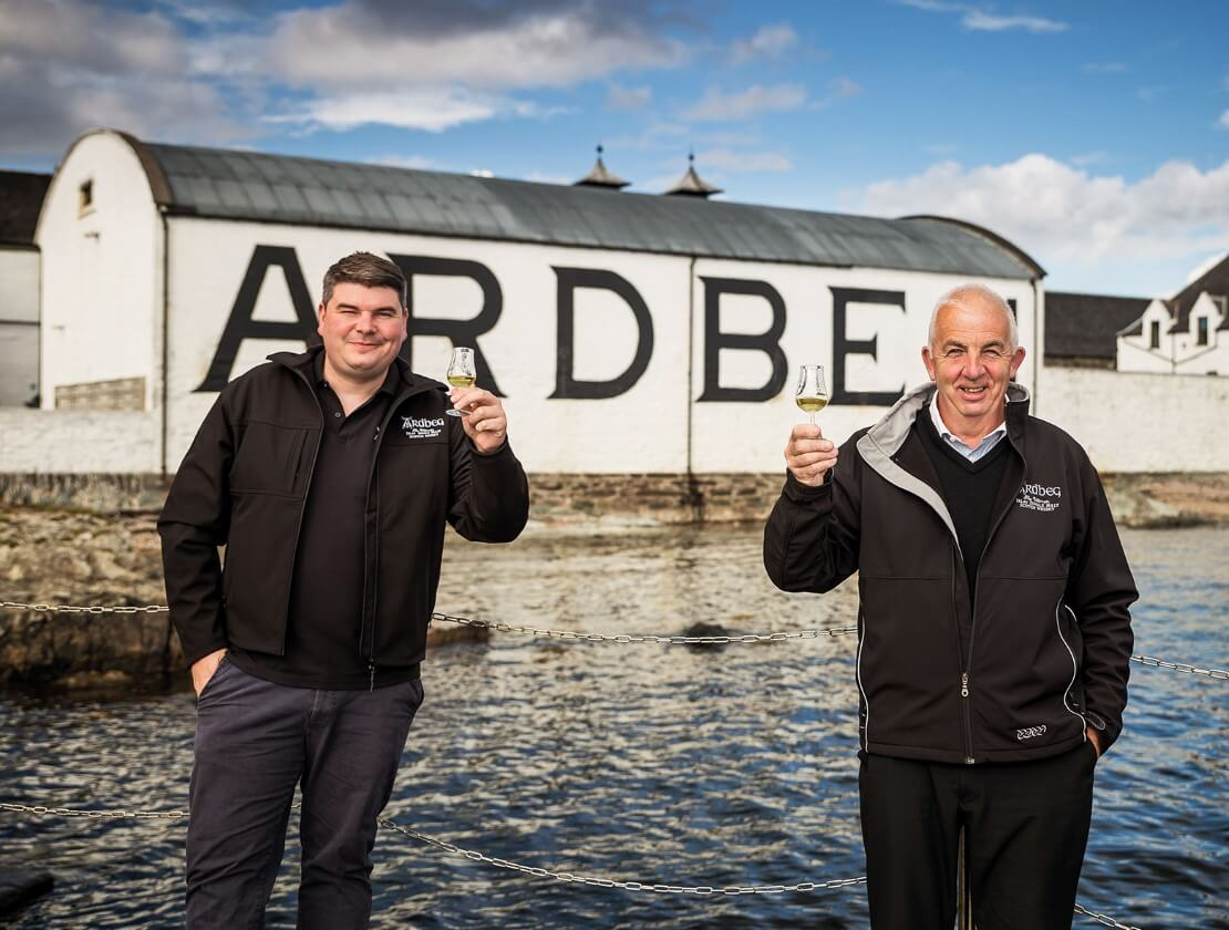 New Ardbeg Distillery manager Colin Gordon and outgoing manager Mickey Heads