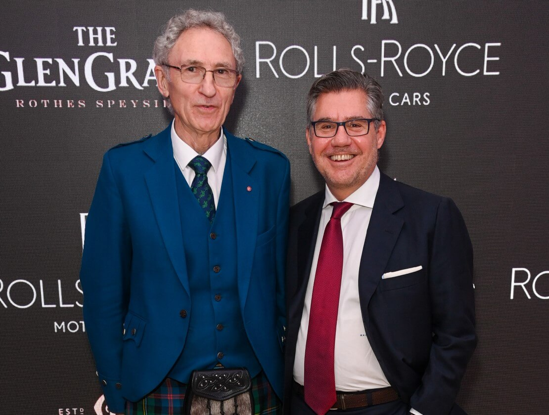 Dennis Malcolm, The Glen Grant master distiller, and Bob Kunze-Concewitz, Campari CEO, at The Dennis Malcolm 60th Anniversary Edition whisky launch in London