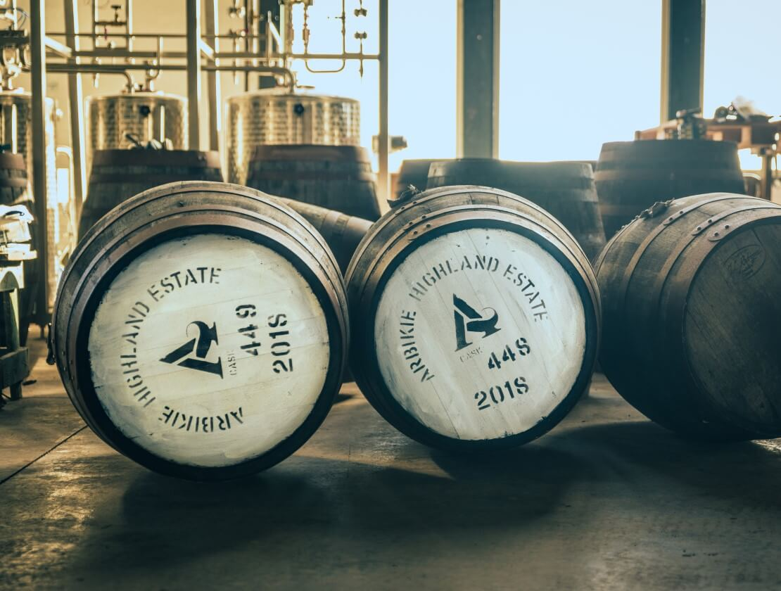 Casks filled with Arbikie spirit. Photo by Christopher Coates.