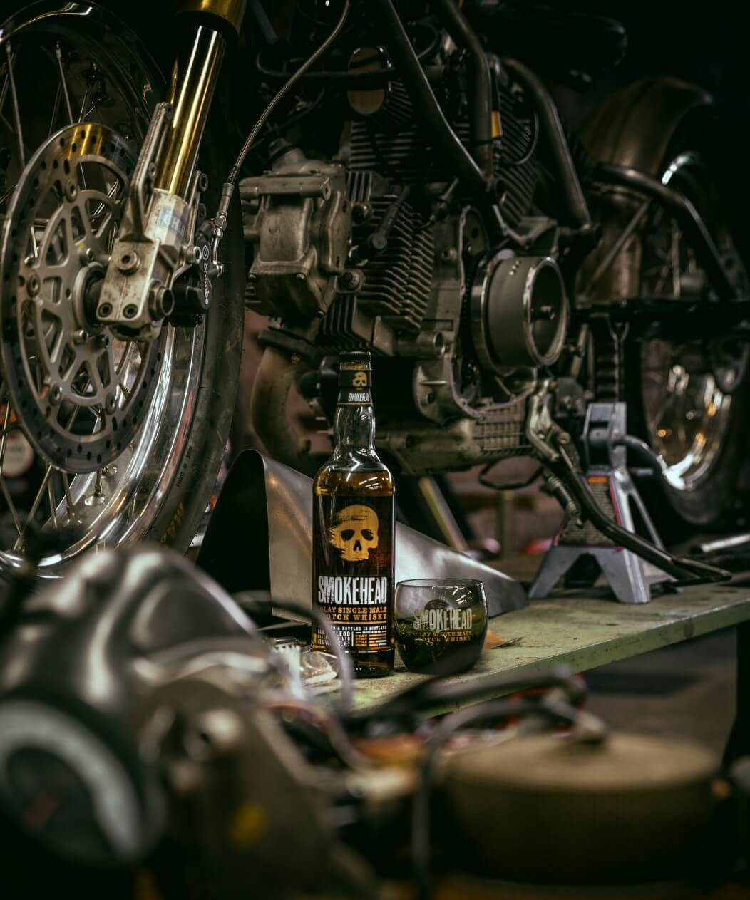 A bottle of Smokehead and The Smoker under construction. Photo by Christopher Coates.