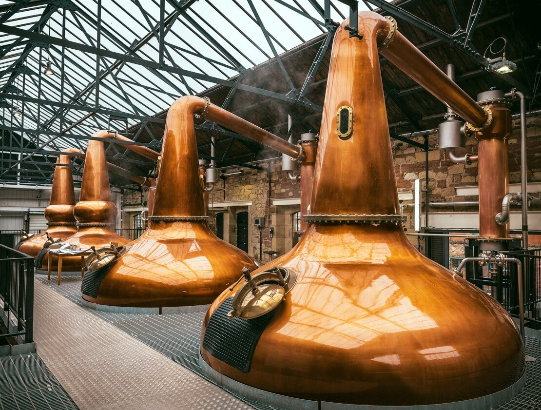 The Borders Distillery's two pairs of copper pot stills