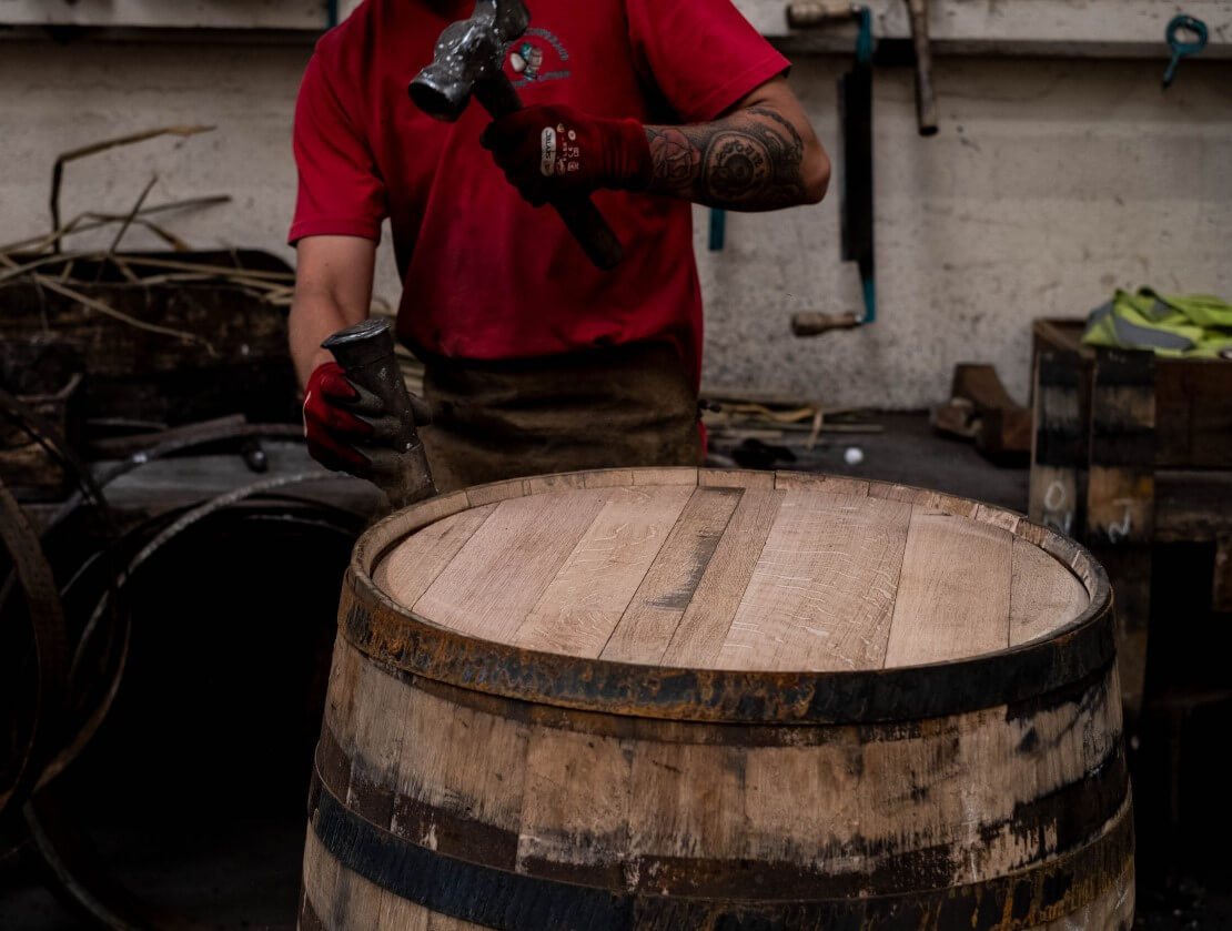 Coopering the native Scottish oak cask.