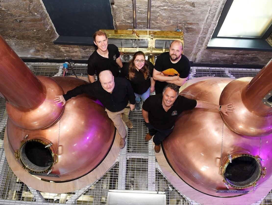 Members of the Holyrood Distillery team. Back row from left: Distillers Ollie Salveson, Elizabeth Machin and Jack Mayo. Front row from left: Founders Rob Carpenter and David Robertson
