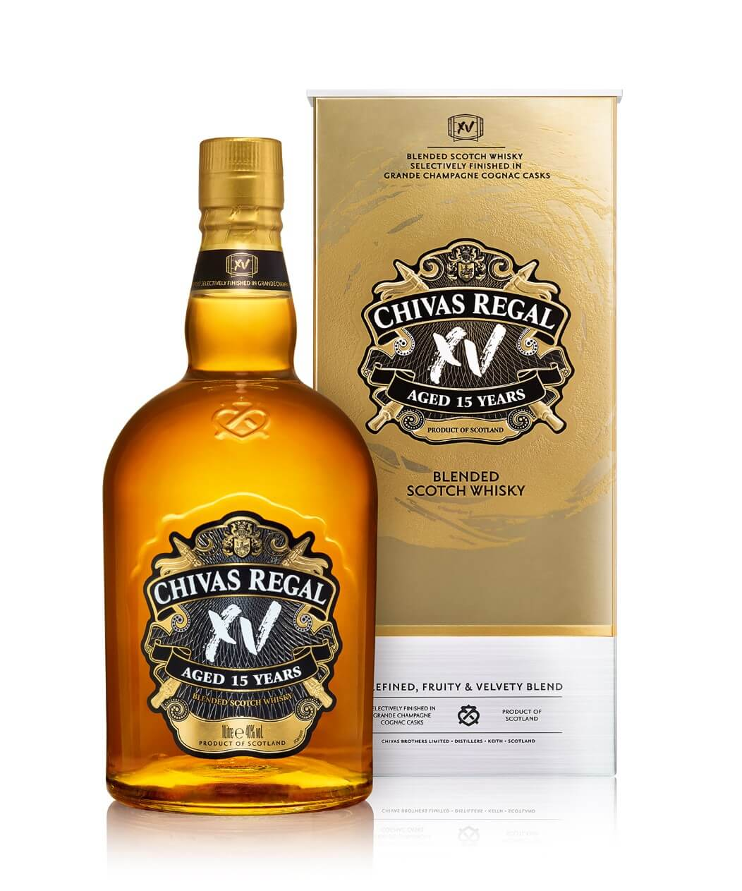 Chivas Regal XV is finished in Grand Champagne Cognac Casks