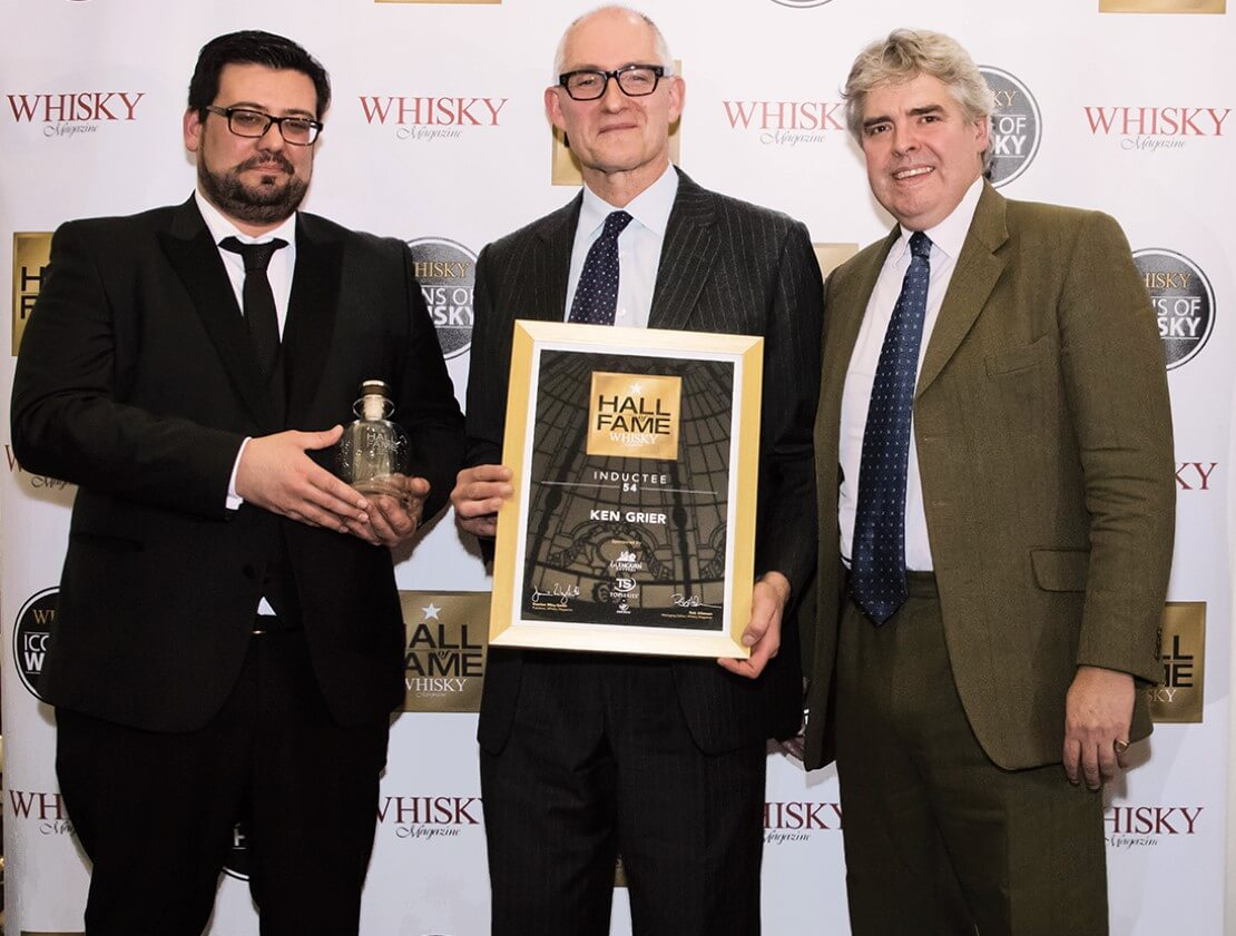 Ken Grier's induction to the Whisky Magazine Hall of Fame in December 2018, accompanied by Bruno Santos (left) of Amorim Top Series, and Damian Riley-Smith (right), publisher of Whisky Magazine.