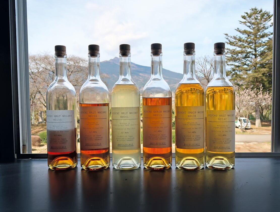 A selection of Nukada cask samples in the tasting room