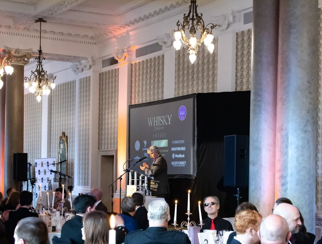 Whisky Magazine's managing director, Damian Riley-Smith, begins proceedings at the Whisky Magazine Awards Scotland.