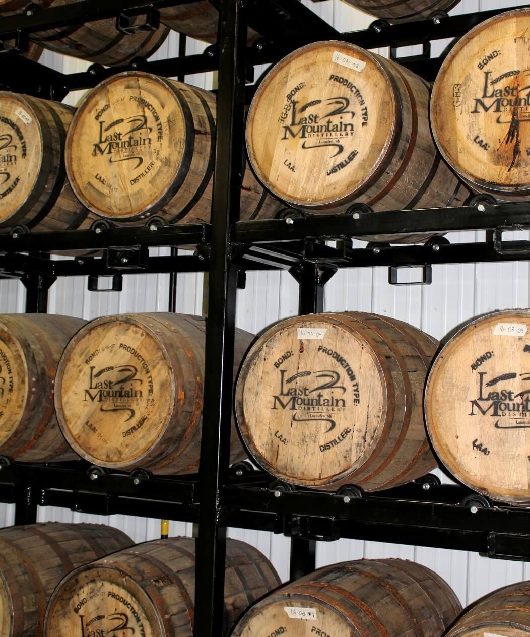 Casks maturing at Last Mountain Distillery