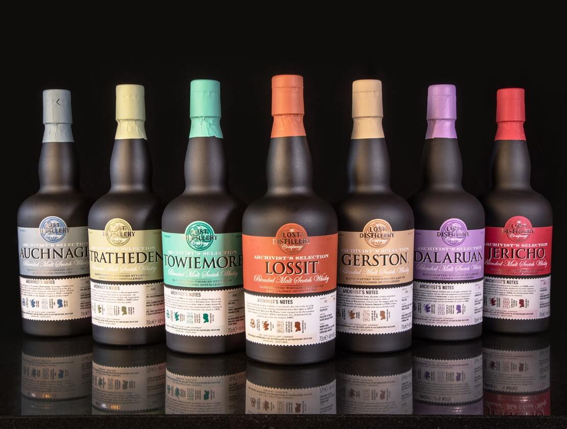 A line up of the current Lost Distilleries bottlings