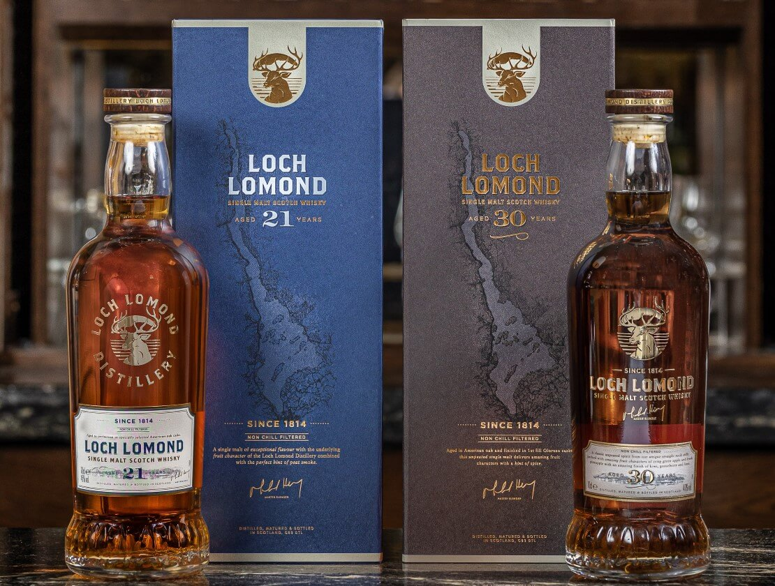 The Loch Lomond 21 Years Old and 30 Years Old single malt Scotch whiskies.