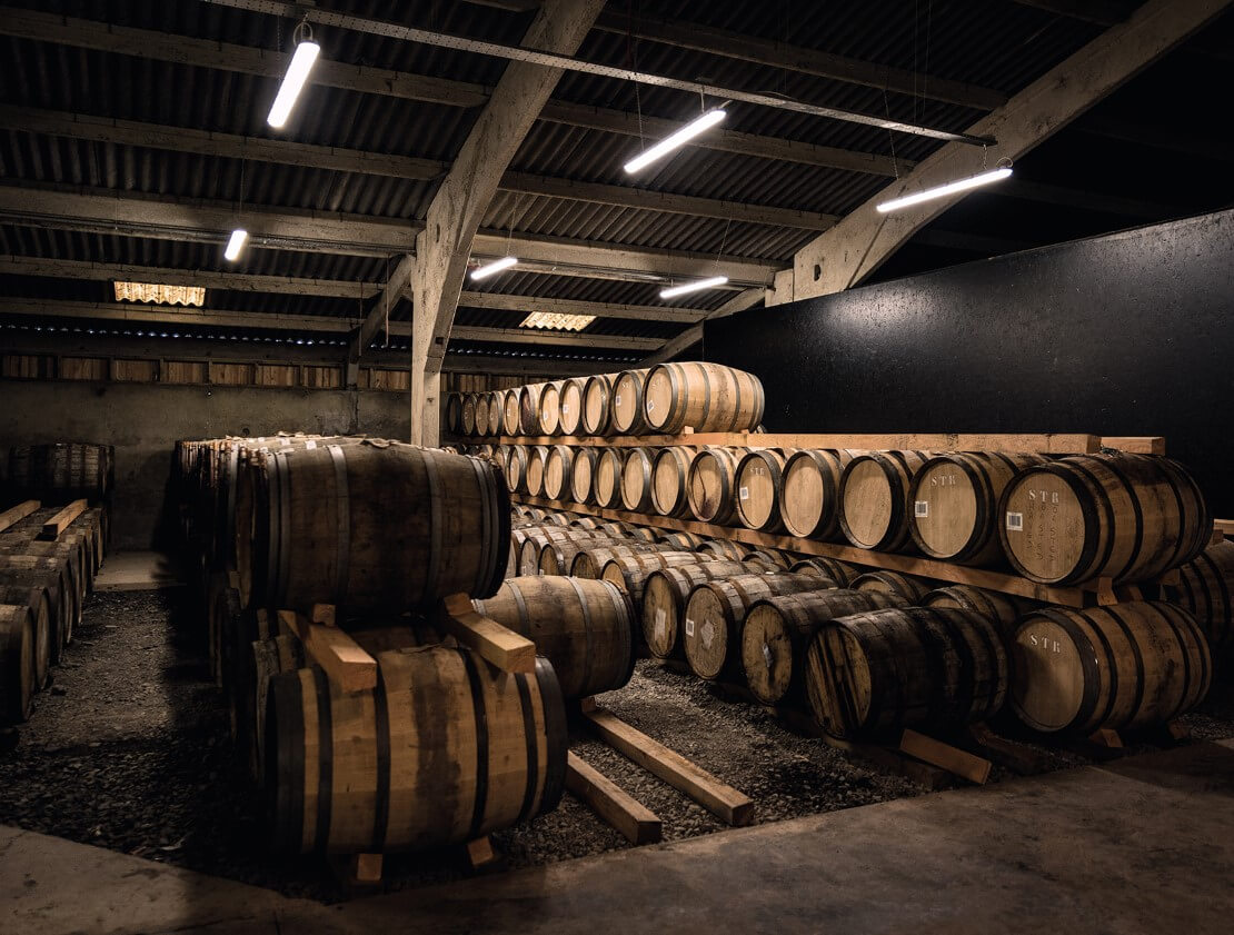 Casks maturing in the warehouse