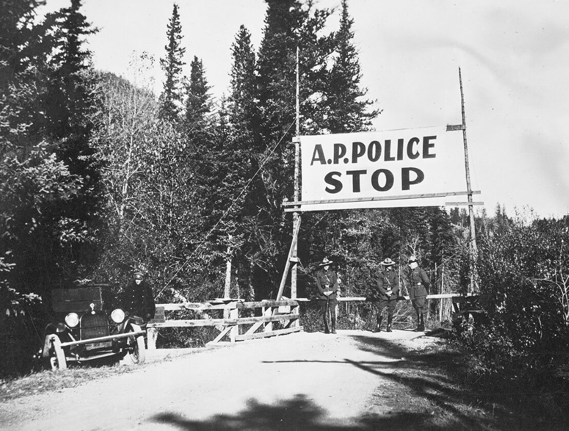 A prohibition police road block