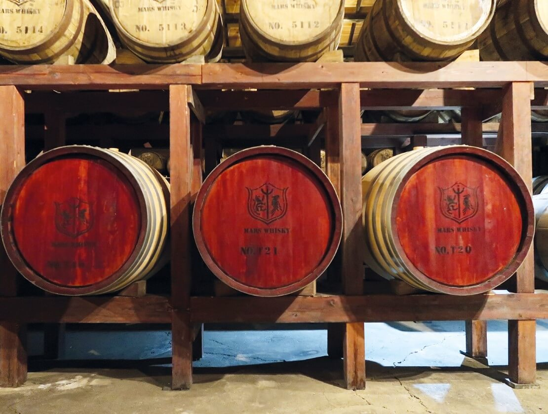 Three casks with cherry woods heads maturing at Tsunuki Distillery