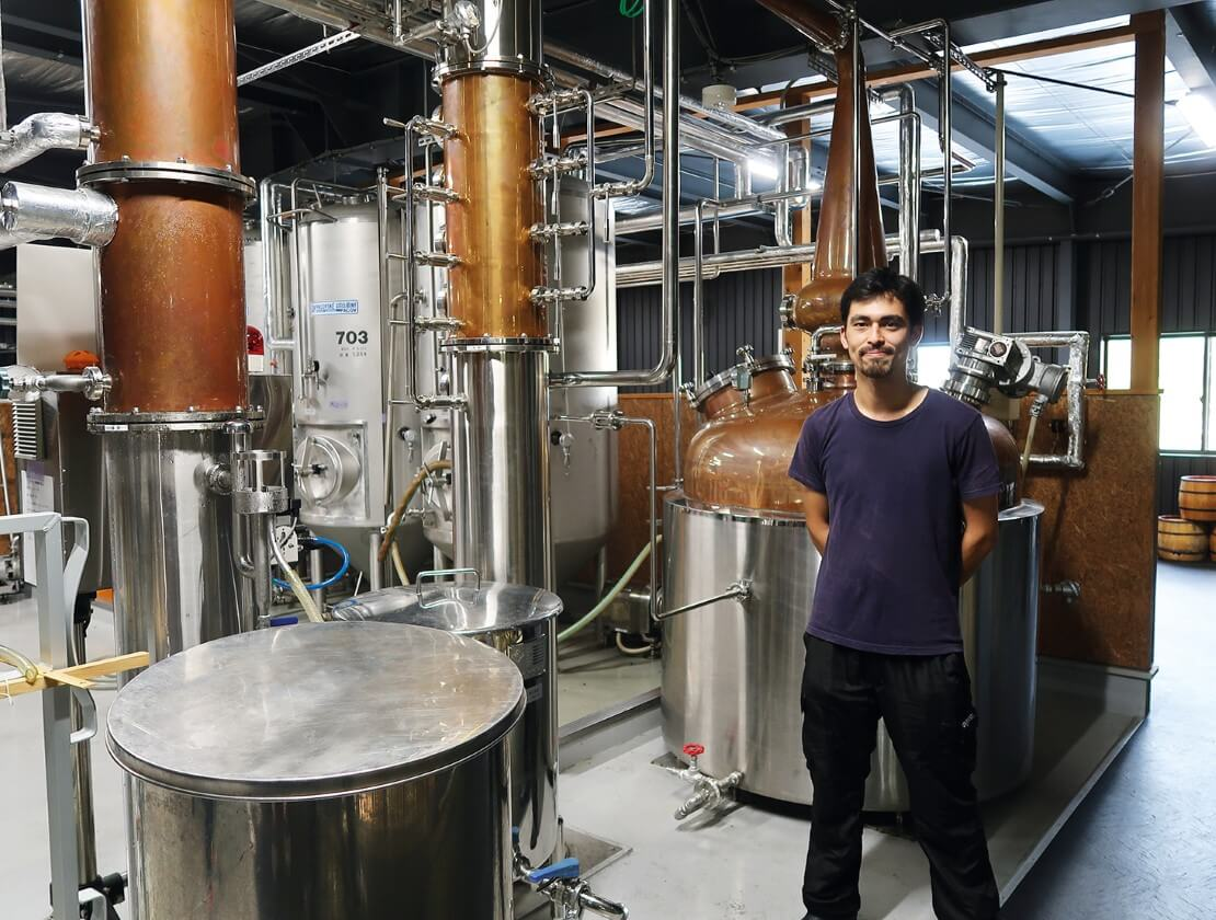 Nukada head distiller Isamu Yoneda in his still house