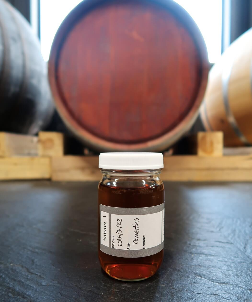 A sample from cherry wood heads cask maturing at Nukada Distillery