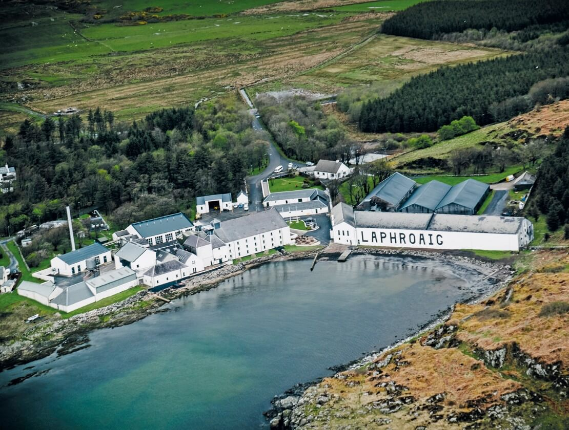 A birds eye view of Laphroaig Distillery