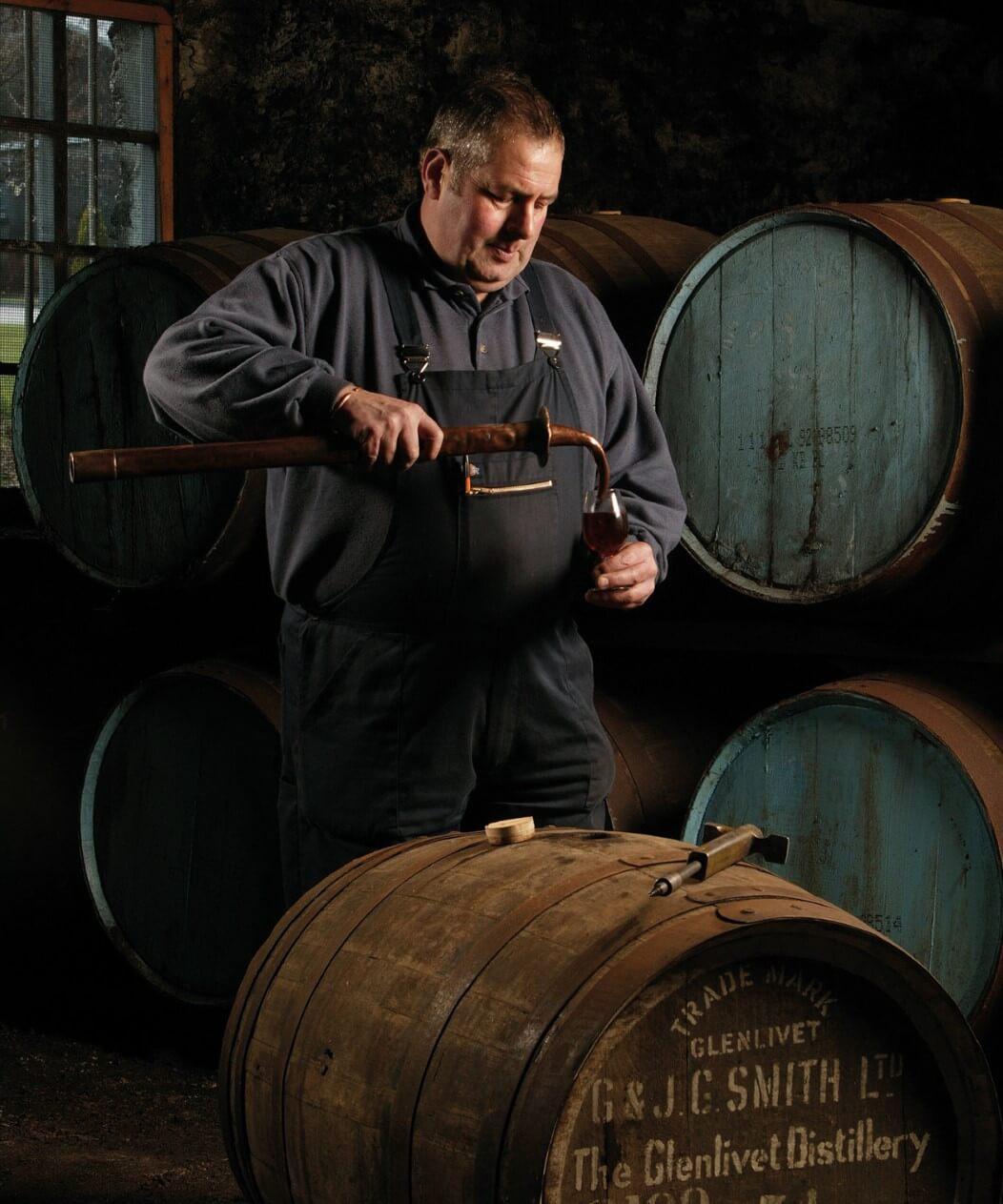 Filling casks at the Glenlivet Distillery
