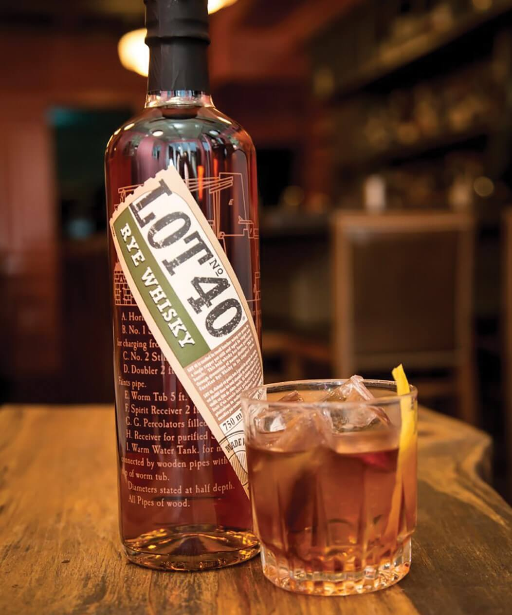 A bottle and serving of Lot 40