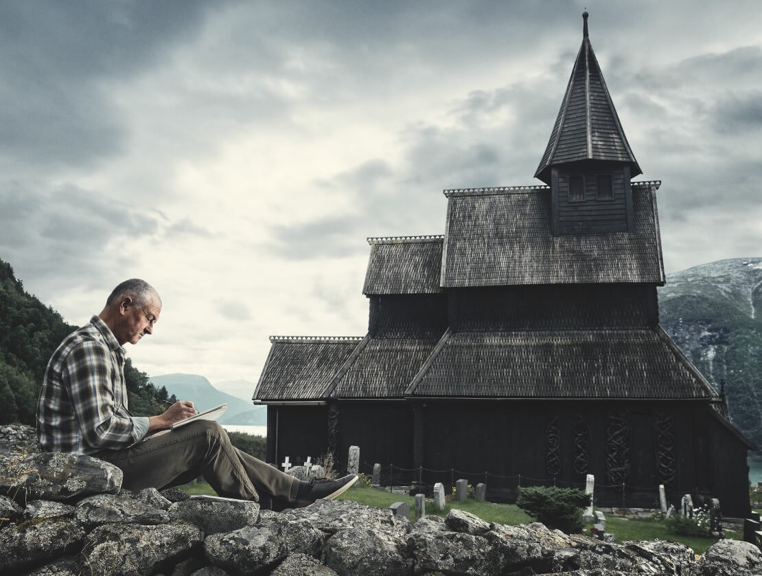 Andy Bowman's bottle design was inspired by the Urnes Stave Church in Norway