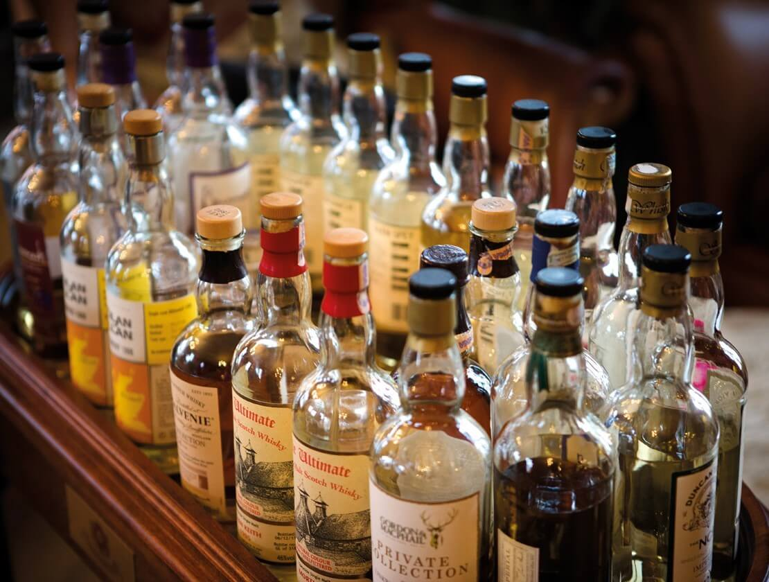 A selection of whiskies from the Shakespeare Hotel
