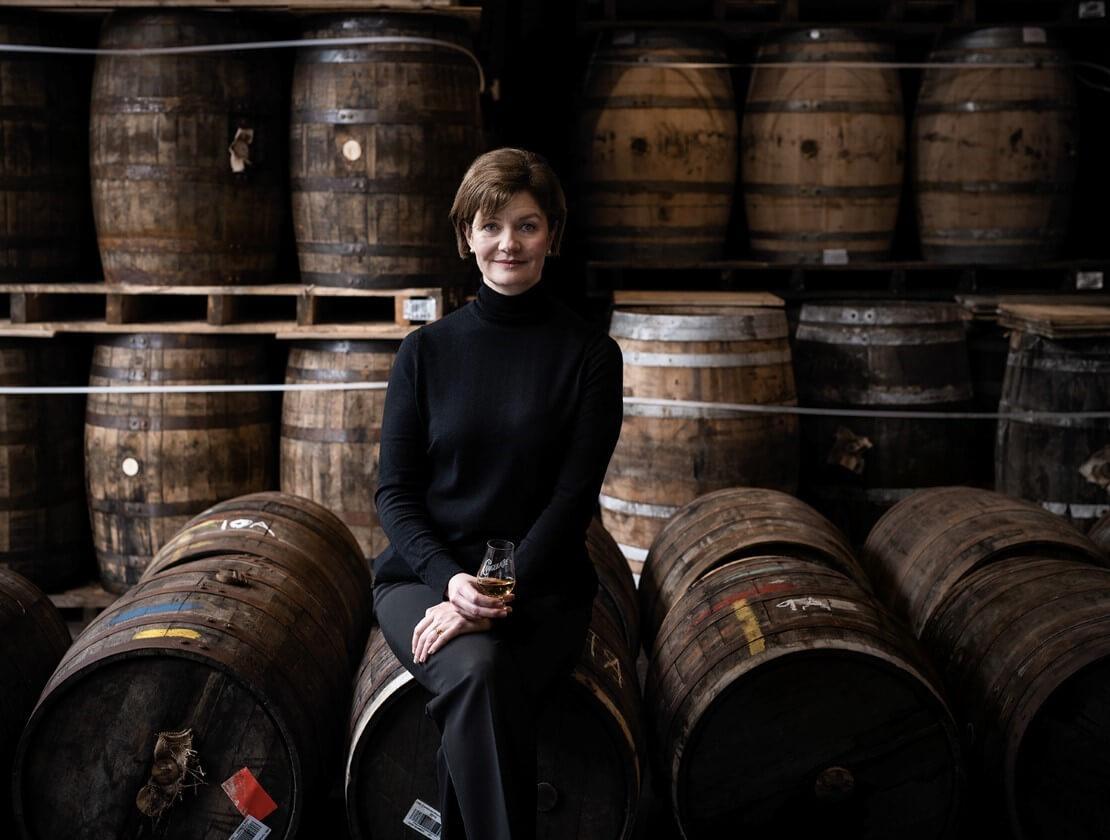 Stephanie Macleod among the whisky casks